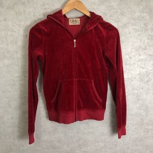 Juicy Couture Red Velvet Hooded Track Jacket